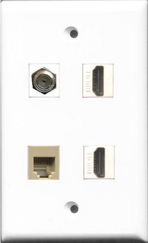 RiteAV-2Port HDMI und 1Port Koax-Kabel TV-F- und 1Port Telefon RJ11RJ12Beige Wand Teller Flush Mount Wall Jack