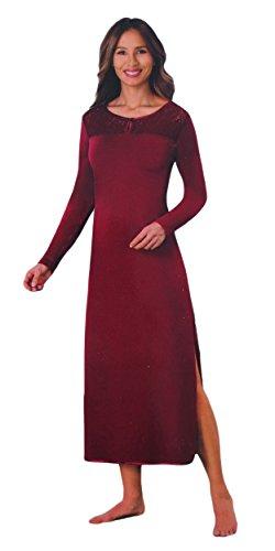 Langes Damen NACHTHEMD mit Spitze Nachtwäsche Schlafkleid langarm Kleid Nachtkleid, Größe:L, Farbe:Rot