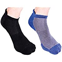 Heelium Bamboo Men's Ankle Socks for Running Sports & Gym, Black & Blue, Anti Odour Breathable Durable Anti Blister Free Size (Shoe Size UK7 - UK12), Combo Pack of 2 Pairs