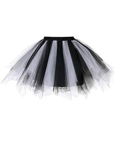 Dresstells Damen Tüllrock 50er Rockabilly Petticoat Tutu Unterrock Kurz Ballett Tanzkleid Ballkleid Abendkleid Gelegenheit Zubehör Black-White M