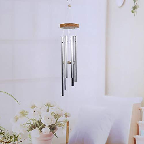 ToDIDAF Windspiele für draußen Windspiel mit 6 Silberröhren Holz + Metall Anhänger Eisen hängen Handwerk für den Garten Terrasse Hof Zuhause Wand Dekoration, Gesamtlänge 65cm (1)