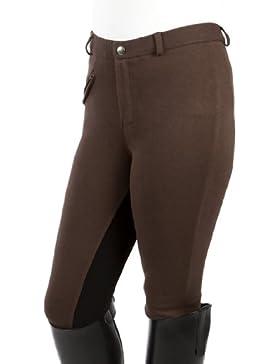 PFIFF Pantalones de equitación con culera para niños, color Marrón (Brown/Black), tamaño: 152