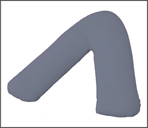 Amigozone Plain Polycotton Back & Neck Support V Shaped Pillowcase Orthopedic/Pregnency/Nursing Pillow Case (Grey)