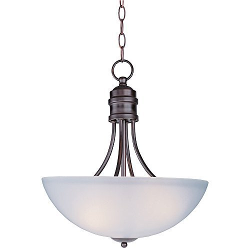 Maxim Lighting 10044FTOI Three Light Frosted Glass Up Pendant, Oil Rubbed Bronze by Maxim Lighting (Maxim Bronze-beleuchtung Lighting)
