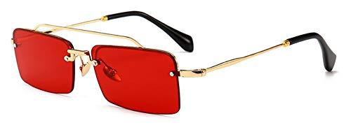 Sonnenbrille Retro, Rechteckige Sonnenbrille Männer Metall Rahmen Gold Braun Klar Rot Rot Halb Randlose Square Sonnenbrillen Für Frauen Sommer