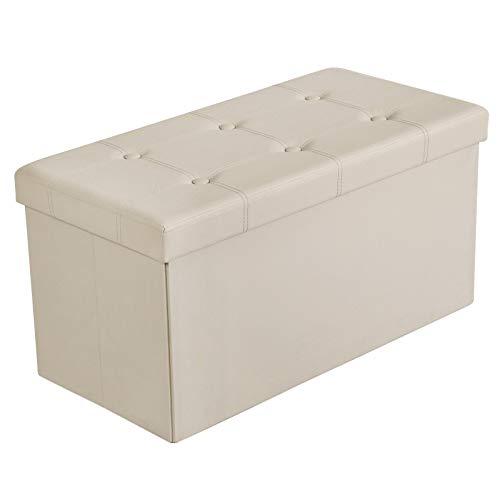 SONGMICS Sitzhocker Sitzbank mit Stauraum faltbar 2-Sitzer belastbar bis 300 kg Kunstleder beige 76 x 38 x 38 cm LSF40M