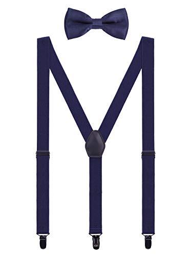 WANYING Herren Hosenträger Fliege Set - 3 Schwarz Clips Y Form 2,5cm Hochelastisch Hosenträger für Körpergröße 150-200cm - Dunkelblau (Kleinkind Vintage-anzüge)