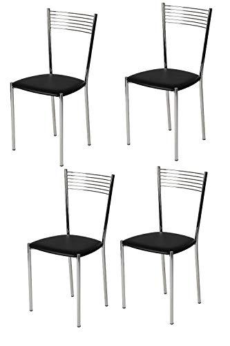 Tommychairs - set 4 sedie moderne e di design elegance per cucina bar salotti e sala da pranzo, con robusta struttura in acciaio cromato e seduta imbottita e rivestita in ecopelle colore nero