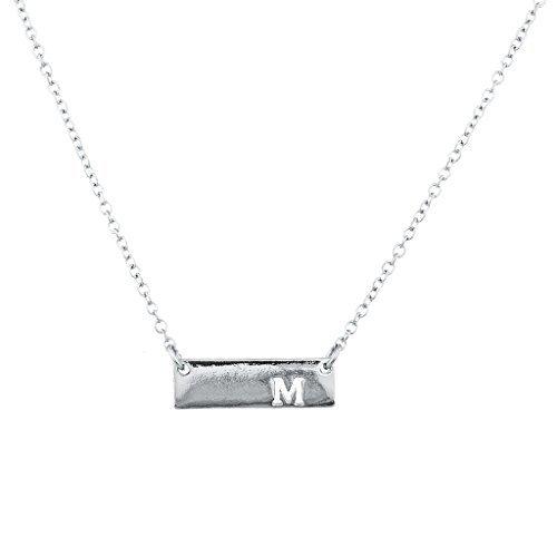 LUX Zubehör Silber Ton Cut Out M Initiale Personalisierte Bar Halskette