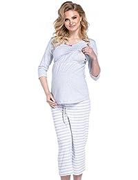 Happy Mama Para Mujer Pijama Premamá Embarazo Lactancia Estampado de Rayas. 704p