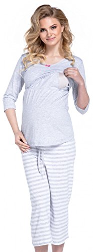 Us-armee-pyjama (Happy Mama. Damen Umstandspyjama Stillfunktion. Stillschlafanzug 3/4-arm. 704p (Hellgrau, EU 38, M))