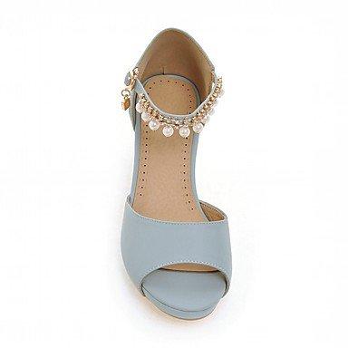 LvYuan Da donna Sandali Finta pelle PU (Poliuretano) Estate Autunno Footing Perle di imitazione Quadrato Beige Blu Rosa 5 - 7 cm blushing pink