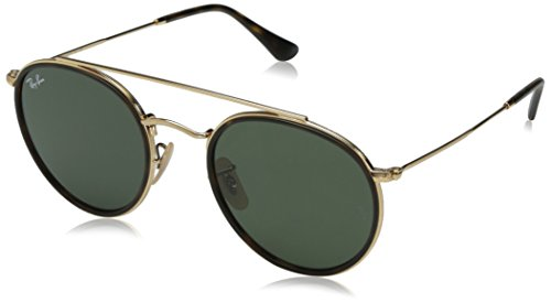 RAYBAN JUNIOR Unisex-Erwachsene Sonnenbrille Round Double Bridge, Gold/Green, 51