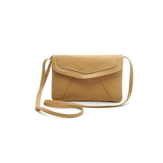 Generic JIARUO New Women Leather Envelope Messenger bag Thin Slim Crossbody bag Shoulder bags Handbag Small Cross body bag Ladies Purses Color Khaki