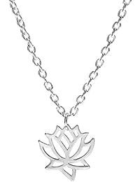 Bobury Chica mujeres collar de huecos flor de loto cuello colgante de regalo de la joyería