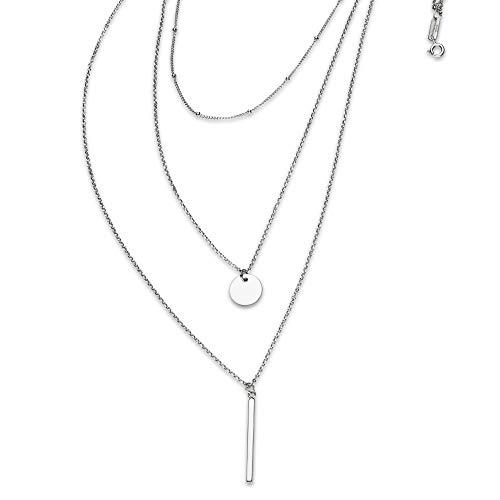 Brilliantme   Damen Halskette   925 Sterling Silber   Dreifachkette   45 cm Länge   Inkl. Poliertuch für Silber Schmuck   26014