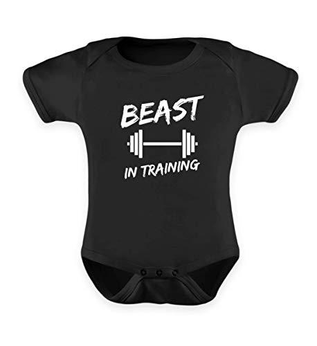 Vater und Sohn Bodybuilding Partnerlook Beast in Training mit Hantel Fitness Gym - Baby Body