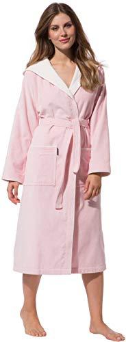 Morgenstern Bademantel für Damen aus Baumwolle mit Kapuze in Rosa Haus Mantel lang Damen Hausmantel Velours Größe M Leonie
