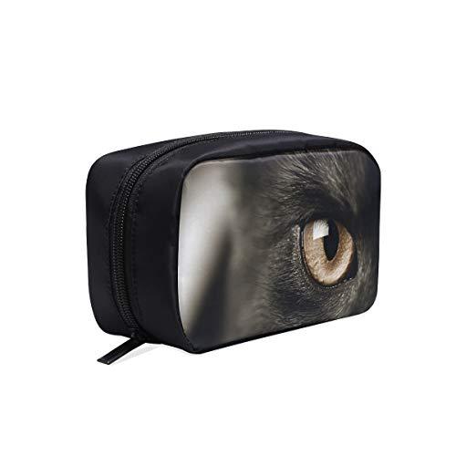 Empfindliche Katzenaugen Tragbare Reise Make-up Kosmetiktaschen Organizer Multifunktions Fall Kleine Kulturbeutel Für Frauen Und Männer Pinsel Fall (Halloween-make-up Katze Dunkle Die)