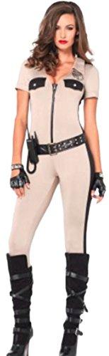 erdbeerloft - Damen Deputy Patdown cop Kostüm Catsuit, Gürtel, Walkie-Talkie und Abzeichen, M, Beige (Lady Cop Kostüm Amazon)