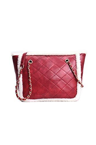 Howoo donne inverno pelliccia ecologica cinturino a catena borsa a tracolla peluche borsetta rosso