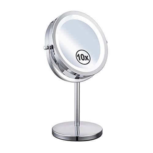 360-Grad-drehender doppelseitiger LED-Licht-Kosmetikspiegel, 7-Zoll-10x Vergrößerung rutschfeste Basis-Batterie-Stromversorgung, Silver