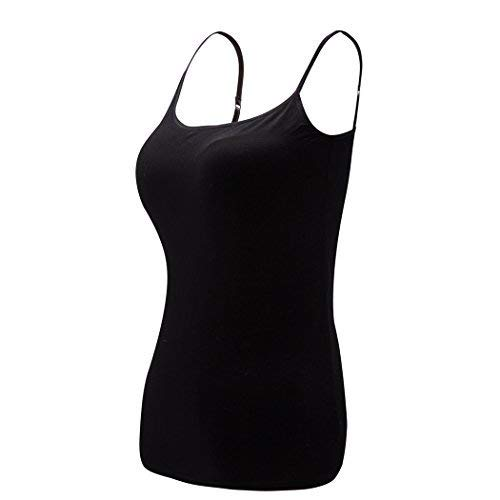 Womens Fitted Unterhemd (Ibeauti Damen atmungsaktiv klassischen Grund Camisoles mit Tops in gepolsterten BH gebaut l - Large schwarz)
