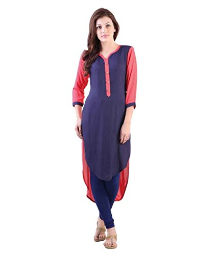 Fusion Multicolor Cap Half Long Short Sleeve Sleeveless Kurtis Kaftan for Girls (GT-KVR-N-XXL)