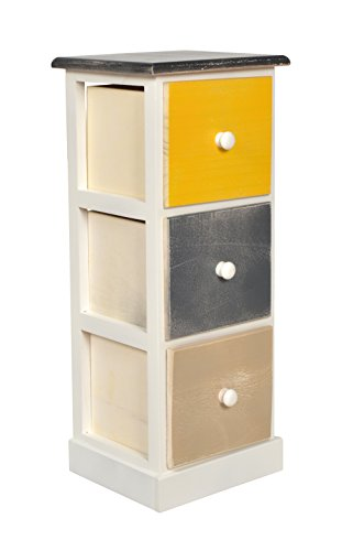 ts-ideen Landhaus Kommode Holz mit 3 Schubladen Schrank Regal Shabby Style Used Look Mehrfarbig 60 cm