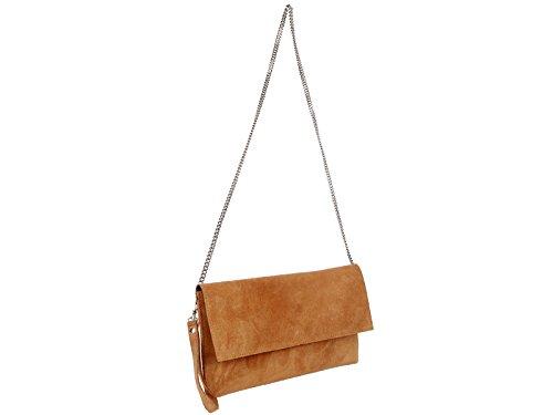 scarlet bijoux Damen Clutch Tasche Unterarmtasche Abendtasche Umhängetasche kamel ca. 31 x 17 x 1 cm (B x H x T) (Wildleder Umhängetasche Handtasche)
