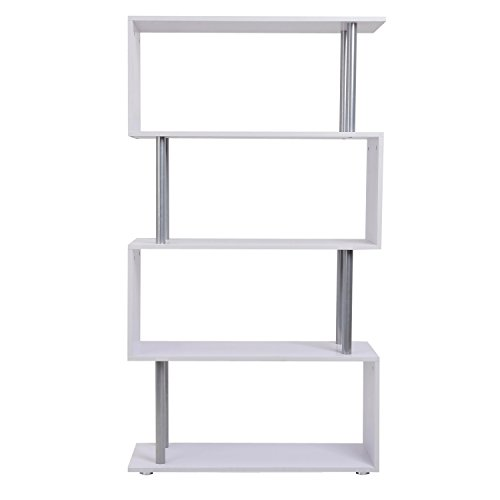 Librería Muebles para Oficina Estantería   Color Blanco   Madera y Metal   145x80x30cm