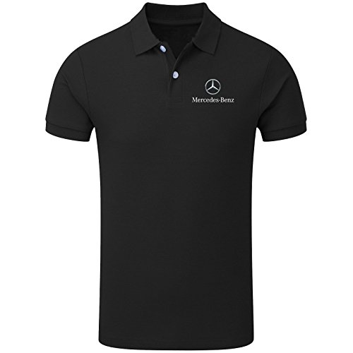 LIT New Men's Mercedes Benz Sports Team Racing Polo Neck Top (Medium) Black