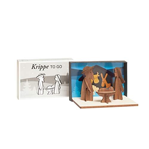 Design im Dorf - Krippe to Go - Mini-Krippe - Ahorn/Nussbaum - steckbare Krippe - Länge 12 cm Breite 8 cm Höhe 7,5 cm