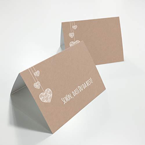Partycards 50 Tischkarten/Platzkarten DIN A7 für Hochzeit, Geburtstag oder weitere Veranstaltungen (Kraftpapier und hängende Herzen)