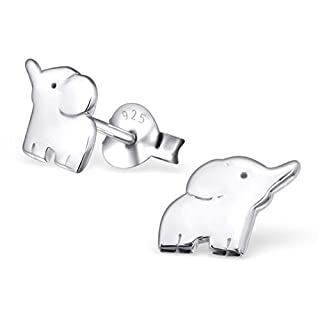 Monkimau 925 Silber Elefanten Ohrring-e Afrika Kinder-Schmuck Kinder-Ohrstecker Sterling Silver Damen Frauen Mädchen-Ohrstecker Geschnek-e