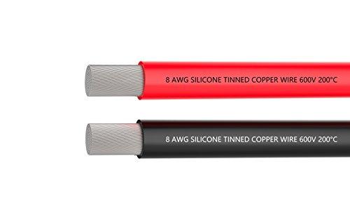 Filo metallico a 8 cavi, cavo della batteria [1,5 m nero e 1,5 m rossi] Filo in silicone 8AWG -1650 Fili di rame stagnato, saldatu