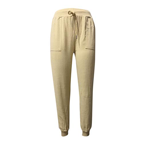 MOTOCO Damen Sommer Freizeithose mit hoher Taille Gummiband Lose einfarbige Taschen Vielseitige Hose(XL(44),Gelb)