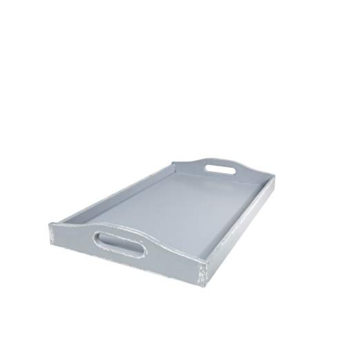Wooden Tea Breakfast Serving Tray with Handles - Grey Shabby Chic (Large)