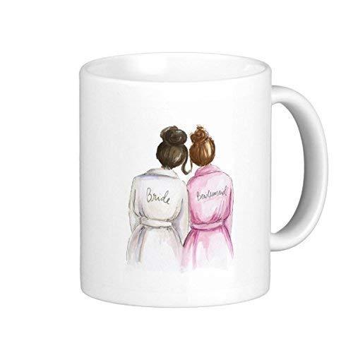 TimetoShine Bridesmaid Mug Dark Br Bun Bride Auburn Bun Maid -