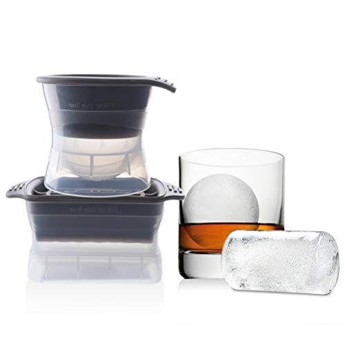 Zeattain Eiskugelform Silikon Jumbo Eiswürfel XXL 60mm Eiswürfelform, 2er Set Eiswürfelform aus Silikon für Runde Eiswurfelform und Quadrat Eiswürfel, BPA Frei