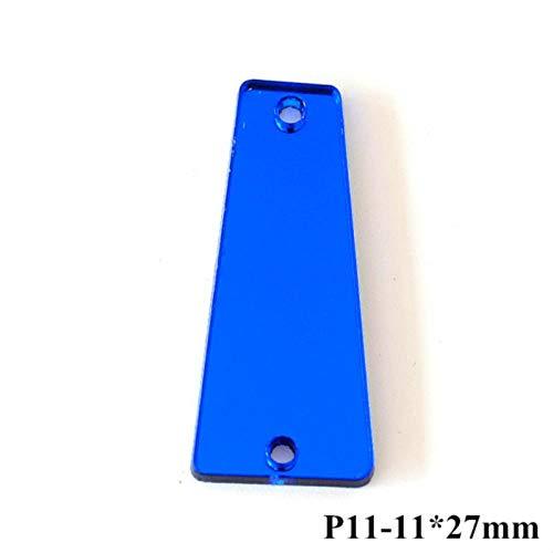 PENVEAT 50pcs Spiegel Blau Strass Näh-Acryl Unregelmäßige Spiegel Sapphire Näh-Strass Strass für Schuhe Bekleidung B3560, P11-11X27mm -