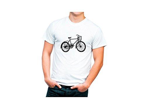 Camiseta algodón orgánico con dibujo bicicleta retro. - L-Grande, Blanco