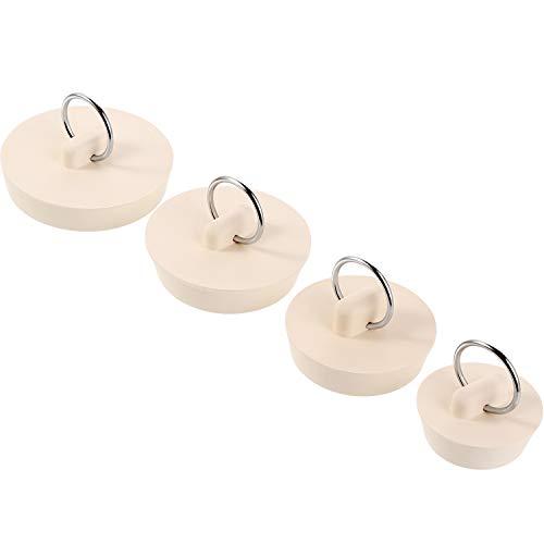 Hestya 4 Stück Ablaufstopfen Set Gummi Waschbecken Stopper Stecker mit Hänge Ring für Badewanne, Küche und Bad, 4 Größen, Weiß