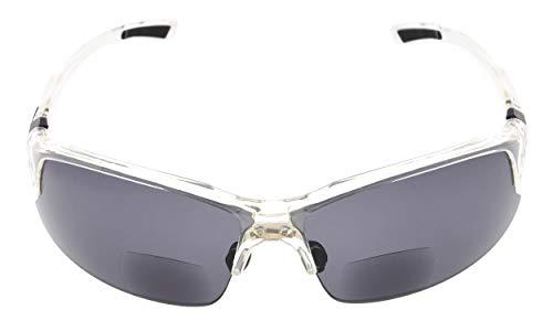 Eyekepper TR90 Unzerbrechliche Sport Bifocal Sonnenbrillen Baseball Laufen Angeln Fahren Golf Softball Wandern Halbrand Lesung Brille Clear Frame Grey Lens +1.0