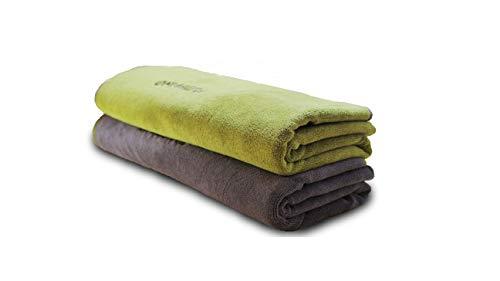 FLUFFINO® Hundehandtuch – Saugfähig, Waschbar u. Weich (2er-Pack, 120 x 70 cm, Grau & Grün) – schnell trocknendes mikrofaser Handtuch für kleine und große Hunde - Badehandtuch für Hunde/Katzen