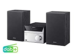 Sony CMT-SBT20B Micro-Systemanlage (Kompakte Design, CD, FM / DAB+ Tuner, RDS, USB-Eingang, Bluetooth, NFC) silber