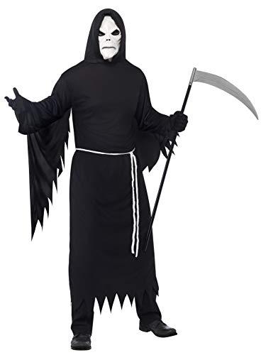 Smiffys Herren Sensenmann Kostüm, Robe mit Kapuze, Maske und Gürtel, Größe: M, 21764