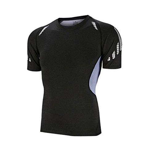 VEMOW Sommer Männer Sport Kurzarmanzug Gymnasium Lauf Quick-Dry Tights Training Top Bluse T-Shirts Pulli(Schwarz 2, EU-52/CN-2XL)