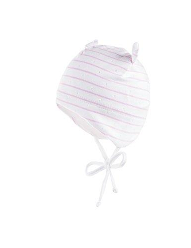 maximo Baby-Mädchen Newborn Mütze Mehrfarbig (Weiss-Mandelblüte-Ringel 2112), 39