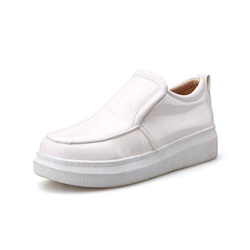 AgooLar Femme Tire Pu Cuir Rond à Talon Bas Couleur Unie Chaussures Légeres Blanc